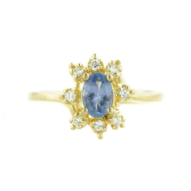 women's ring, halo ring, white sapphire, tanzanite, tanzanite ring, white gold tanzanite ring, solid gold, mothers day, best price, fine jewelry, gems and jewels for less, jewelsforless