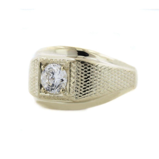 Mens ring, cubic zirconia mens ring, 14k over silver, 925, heavy stone ring, diamond ring, gems and jewels for less, gjfl
