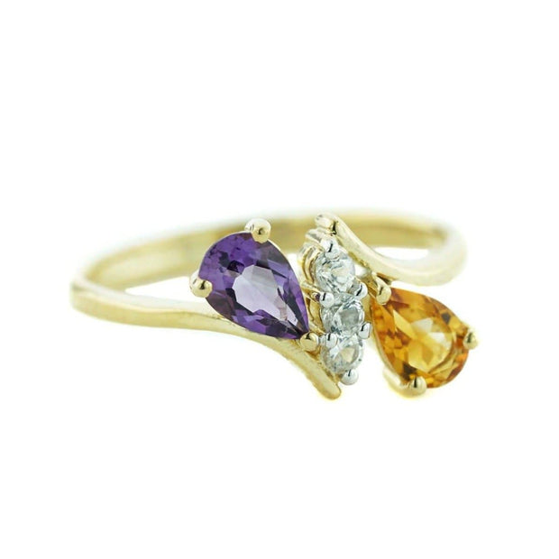 amethyst, citrine, february birthstone, november birthstone, white sapphire, yellow gold, women's ring, h stern, gemstone jewelry, fine jewelry, designer jewelry, mothers day, gems and jewels for less, jewelsforless, amethyst and citrine, amethyst and citrine ring, citrine and amethyst