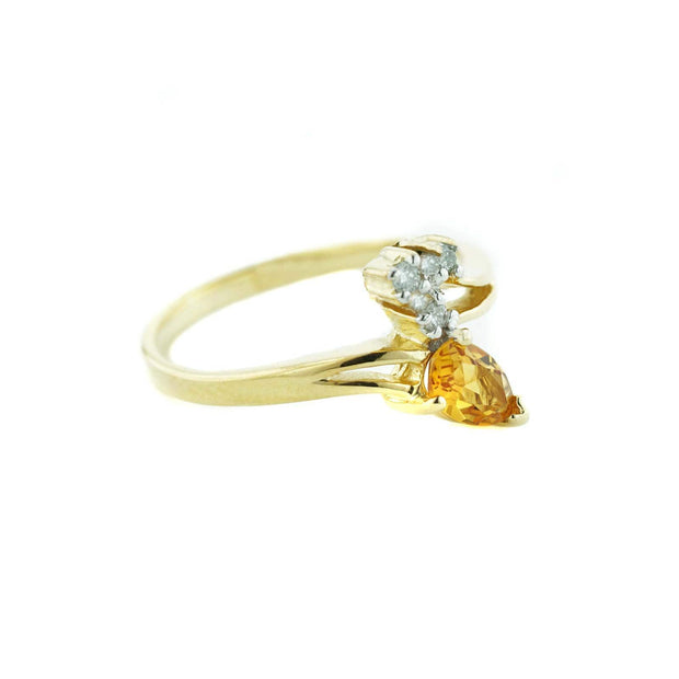 women's ring, citrine ring, yellow gold ring, november birthstone, white sapphires, best price, mothers day, gift for mom, fine jewelry, gems and jewels for less, jewelsforless, solid gold
