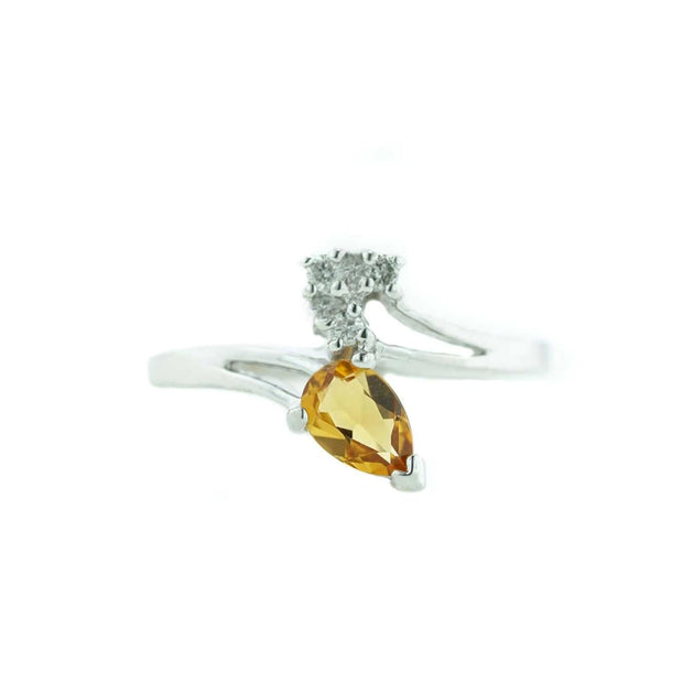 women's ring, citrine ring, white gold ring, november birthstone, white sapphires, best price, mothers day, gift for mom, fine jewelry, gems and jewels for less, jewelsforless, solid gold