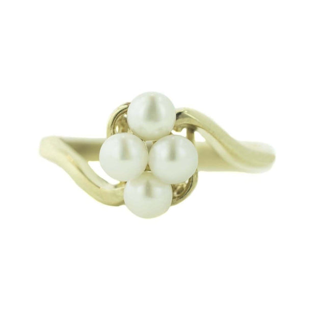 june birthstone, pearl ring, pearl cluster ring, cluster ring, 14k gold pearl ring, cocktail ring, clasic ring, yellow gold, mothers day, pearl and gold ring, gems and jewls for less, jewelsforless, gjfl, ring, women's ring