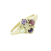 gold ring, women's ring, amethyst, peridot, garnet, yellow gold, midevil, game of thrones, designer ring, mothers day, woman ring, gems and jewels for less, jewelsforless, gift for mom, cabochon, multi gemstone, jewels, fine jewelr