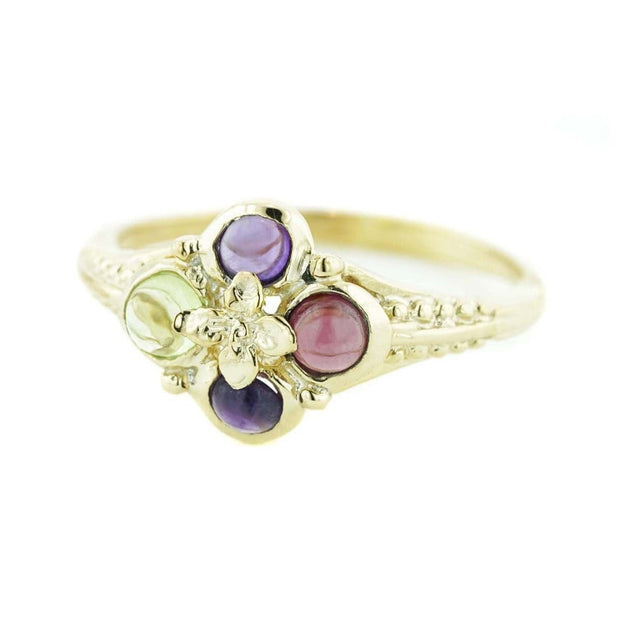 women's ring, amethyst, peridot, garnet, yellow gold, midevil, game of thrones, designer ring, mothers day, woman ring, gems and jewels for less, jewelsforless, gift for mom, cabochon, multi gemstone, best price, fine jewelry