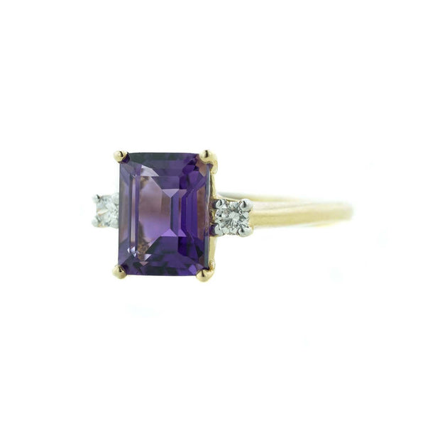 gems and jewels for less, mothers day, february birthstone, amethyst, amethyst ring, emerald cut, alternative engagement ring, fine jewelry, gold, yellow gold, women's ring, gemstone ring, woman ring, woman jewelry, sapphire, fine jewelry, zales, kay, rings, gold, best price jewelry, wholesale jewelry
