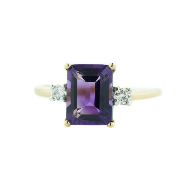 february birthstone, amethyst, amethyst ring, emerald cut, alternative engagement ring, fine jewelry, gold, yellow gold, women's ring, gemstone ring, woman ring, woman jewelry, sapphire, fine jewelry, zales, kay, rings, gold, best price jewelry, wholesale jewelry