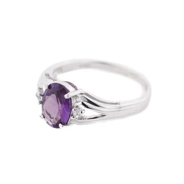 amethyst white gold ring, etsy rings, gjfl, gems and jewels for less, jewelsforless, mothers day, February birthstone, amethyst, amethyst ring, amethyst women's ring, women's ring, white gold ring, white gold amethyst ring, gemstone ring, best price, fine jewelry, unique jewelry, mothers day birthstone rings, art jewelry, alternative engagement ring, gems and jewels for less, mothers day