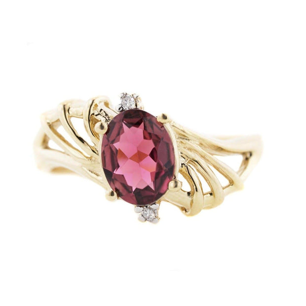 pink tourmaline, diamond, pink tourmaline ring, 14k yellow gold, diamond ring, mothers day, fine jewelry, gems and jewels for less, jewelsforless, solid gold, natural gemstone, best price