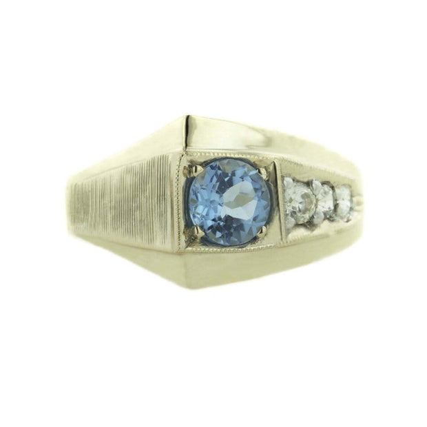 december birthstone, men's ring, men's blue topaz ring, silver ring, gold over silver ring, father's day, white sapphire ring, 925, gents ring, statement ring, cool ring