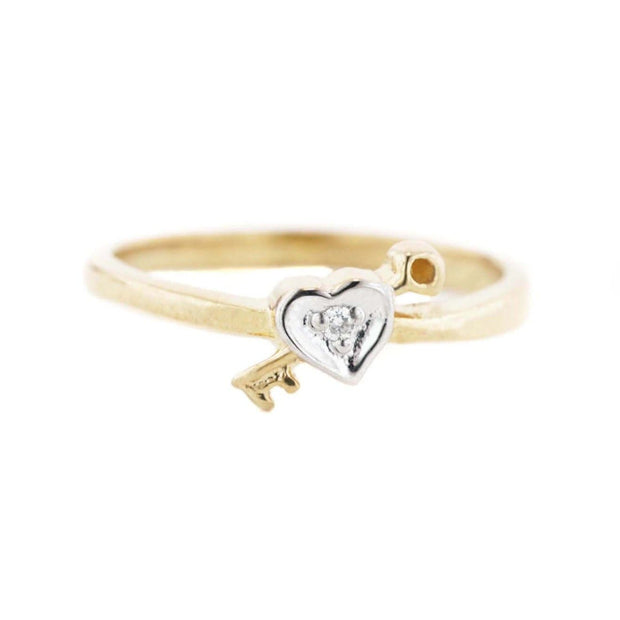 gems and jewels for less, mothers day, sweetheart ring, heart and key diamond ring, heart ring, diamond ring, 14k yellow gold, cupid, valentines ring, promise ring, best price, women's ring, woman ring, childrens ring, pinky ring, best price, wholesale jewelry, heart ring