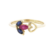 Ruby ring, sapphire ring, ruby and sapphire ring, heart ring, yellow gold, mothers day, best price, fine jewelry, gems and jewels for less, solid gold rings