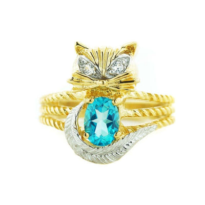 Cat ring, women's ring, cat lovers, woman ring, silver ring, gold over silver ring, blue topaz, blue topaz ring, december birthstone, women's ring, unique rings, animal rings, mothers day, designer rings, gems and jewels for less