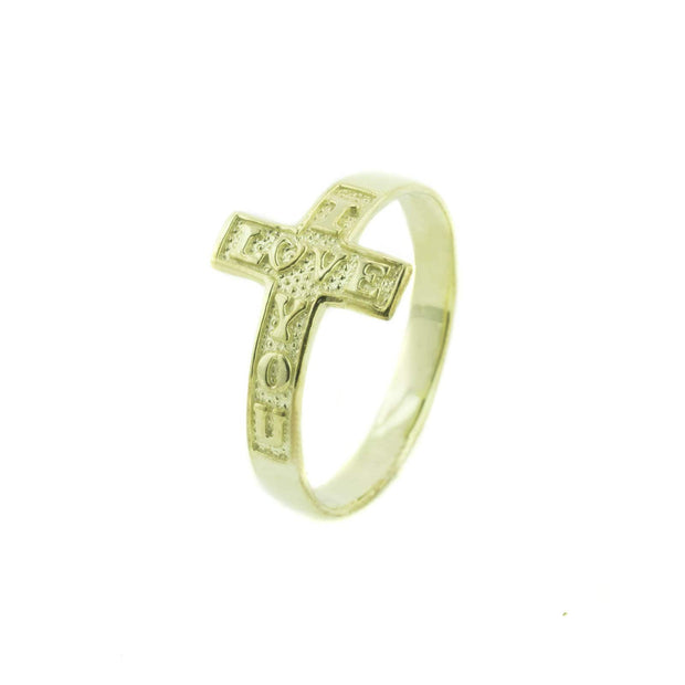 cross ring, i love you cross ring, 14k yellow gold ring, 14k cross ring, cross ring wrap, embellished I love you, women's ring, gjfl, gems and jewels for love