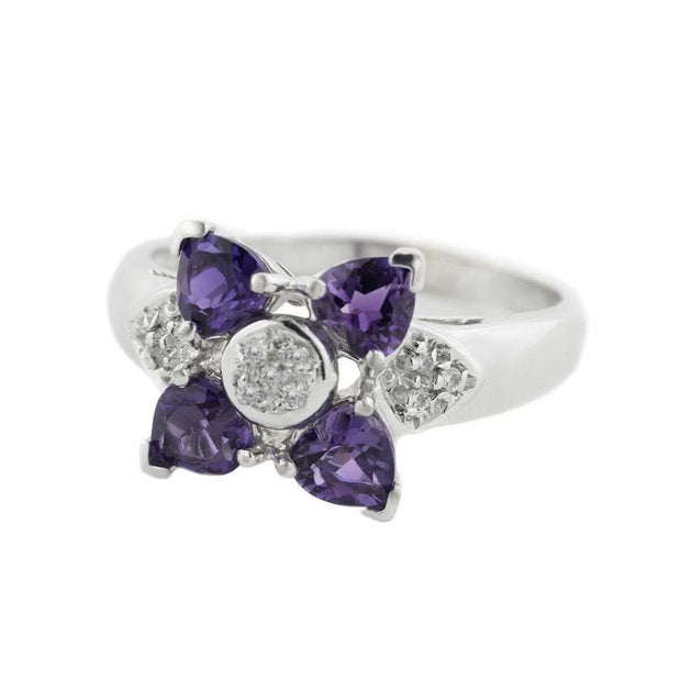GJFL, amethyst white gold ring, amethyst and diamond ring, women's ring, february birthstone, amethyst heart ring, diamond ring, white gold ring, cluster ring, floral ring, amethyst flower ring