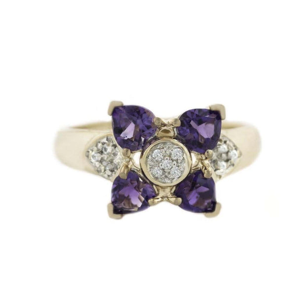 GJFL, february birthstone, amethyst ring, women's amethyst ring, amethyst flower ring, floral ring, ring flower design, gold flower ring, amethyst, best price, diamond, gems and jewelsforless, cluster ring