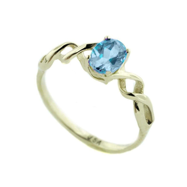 Blue Topaz Gemstone Twist Ring