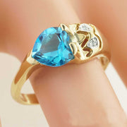 blue topaz heart ring, blue jewels, blue engagement ring, gems and jewels, blue gold ring, blue stone ring, blue topaz ring