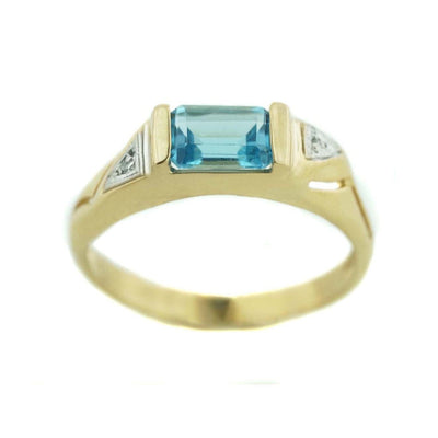 gems and jewels for less, mothers day, jewelsforless, blue topaz ring, emerald cut blue topaz, december birthstone blue topaz, diamond, 14k yellow gold ring, women's ring, woman ring, heavy stone ring, designer ring, best price, wholesale jewelry, alternative engagement ring, gift for mom