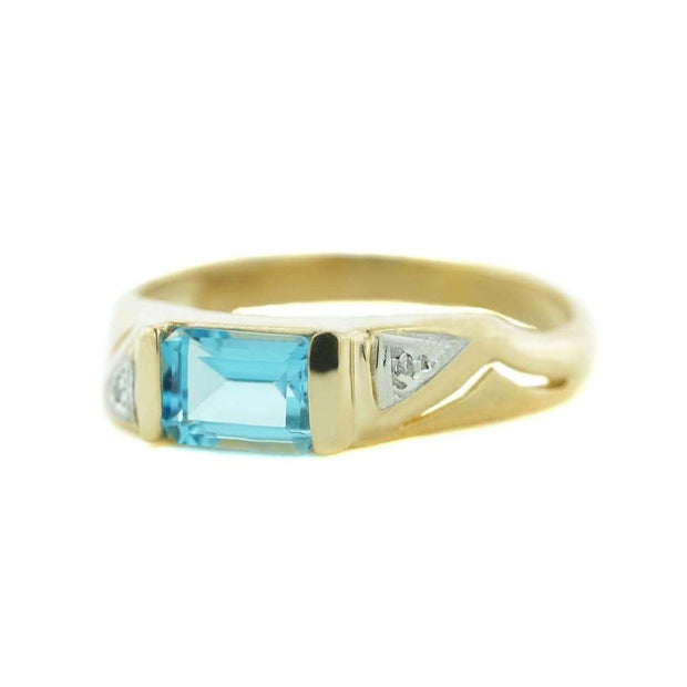 gems and jewels for less, mothers day, jewelsforless, blue topaz ring, emerald cut blue topaz, december birthstone blue topaz, diamond, 14k yellow gold ring, women's ring, woman ring, heavy stone ring, designer ring, best price, wholesale jewelry, alternative engagement ring, gift for mom, jewels and gems