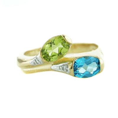 peridot, august birthstone, blue topaz, december birthstone, peridot ring, blue topaz ring, yellow gold, mothers day, gems and jewels for less, jewelsforless