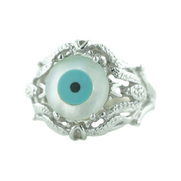 Evil eye, protection ring, women's ring, white gold, talisman, best price, fine jewelry, gems and jewels for less, mothers day