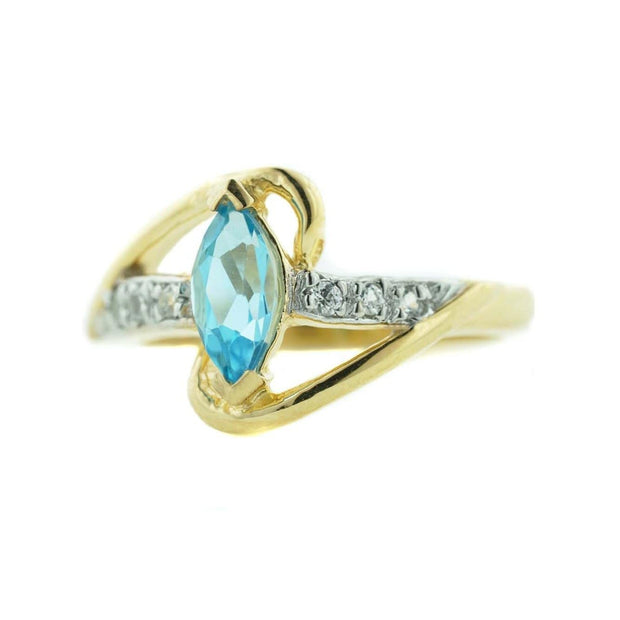 blue topaz, diamond, yellow gold, december birthstone, women's ring, gems and jewels for less, jewelsforless, mothers day, traditional rings, unique designs, fine jewelry, diamond ring, blue jewels, blue gems, blue topaz engagement ring