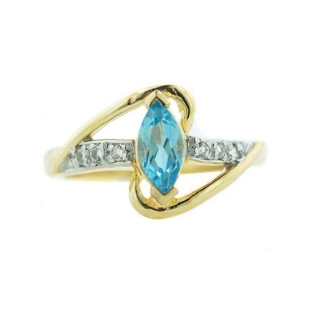 blue topaz, diamond, yellow gold, december birthstone, women's ring, gems and jewels for less, jewelsforless, mothers day, traditional rings, unique designs, fine jewelry, diamond ring