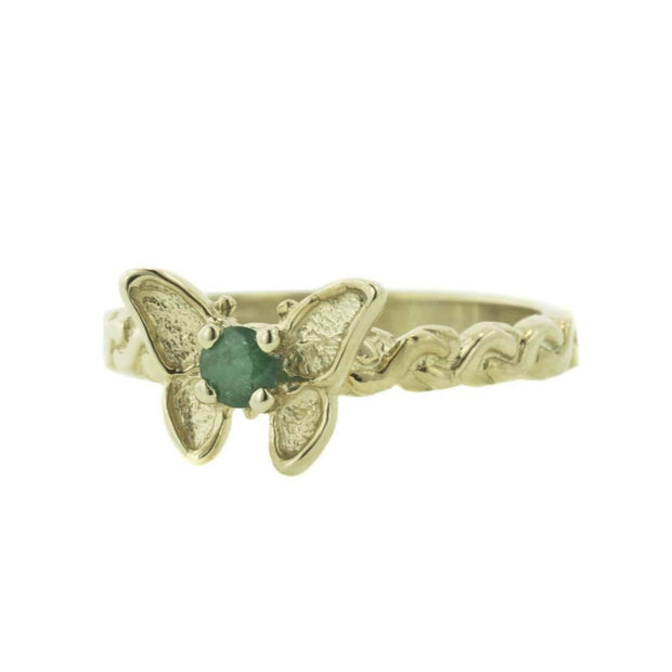 butterfly ring, butterfly, emerald, emerald ring, butterfly emerald ring, mother's day, gems and jewels for less, jewelsforless, gjfl, art jewelry, gold butterfly ring, emerald 14k gold ring, women's rings