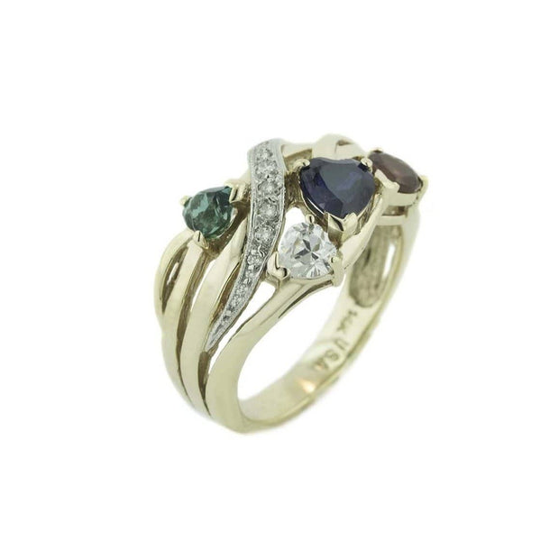 emerald ring, sapphire ring, garnet ring, heart ring, four heart ring, yellow gold, pave setting, wide band, wide gold band, gemstone ring, four stone ring, gems and jewels for less, jewelsforless, GJFL