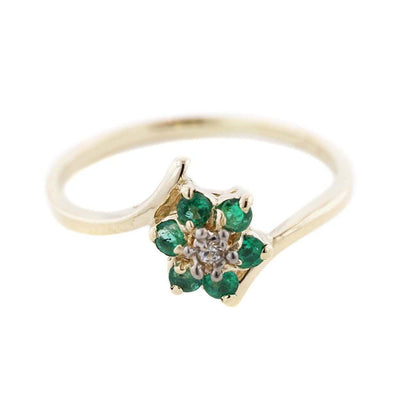 Emerald Flower - 14K Yellow Gold