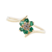 gems and jewels, flower ring, emerald ring, emerald and diamond ring, green ring, green stone ring