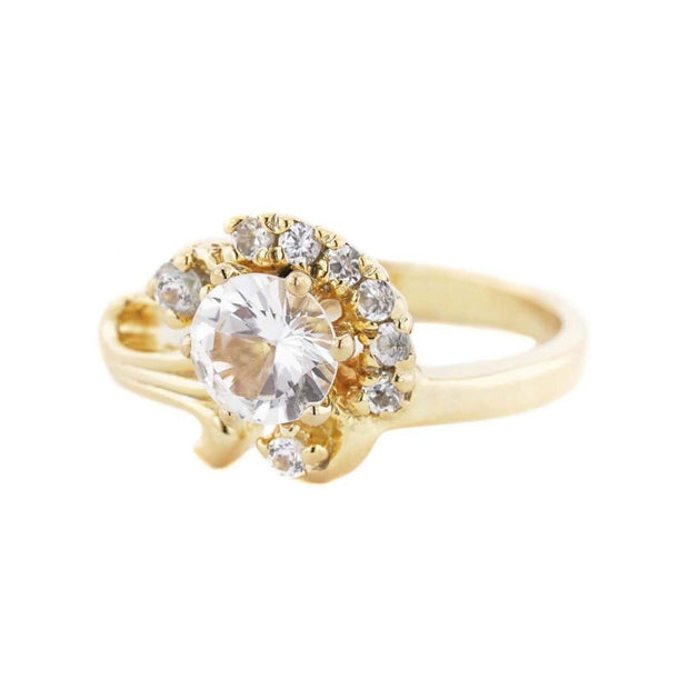 diamond ring, white sapphire, sapphire, women's sapphire ring, women's rings, yellow gold, solid gold, best price, alternative engagement ring, mothers day, designer ring