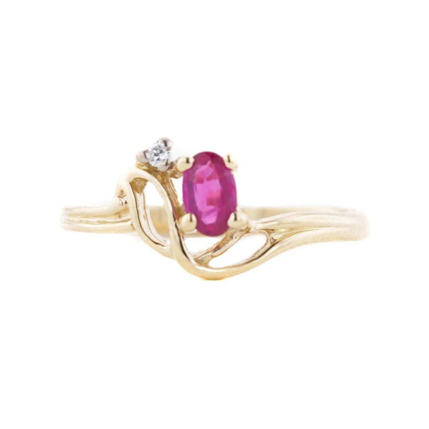 Ruby and White Sapphire - 14K Yellow Gold