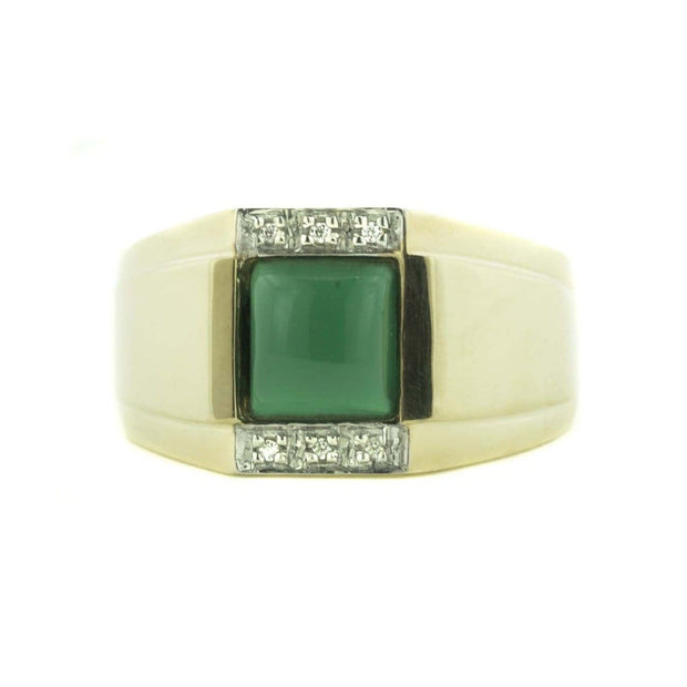 jade, mystical birthstone march, silver, mens ring, gold over silver, diamond, man-made diamond, natural jade, fathers day, gems and jewels for less, jewelsforless, green jade