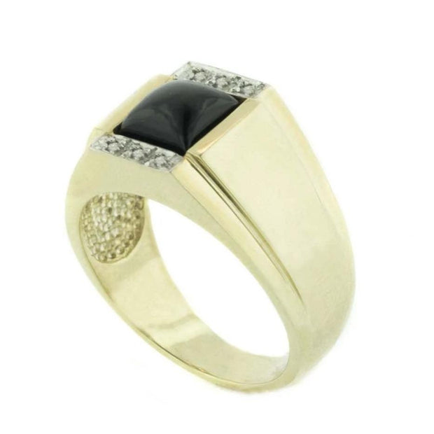 black onyx ring, men's black onyx ring, statement ring, heavy ring, silver ring, gold over silver, gems and jewels for less, jewelsforless, GJFL, diamond and black onyx ring