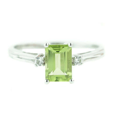 peridot, august birthstone, green, emerald cut, alternative engagement ring, white gold, women's peridot ring, peridot ring, peridot gemstone, zales, kay, fine jewelry, white gold, solid gold, best price, wholesale jewelry, rings, mothers day, gems and jewels for less