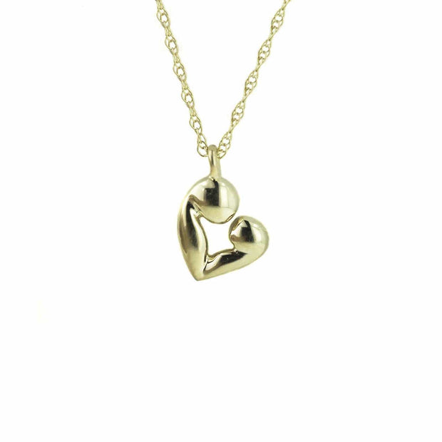 mother child, pendant, necklace, yellow gold, mother and child necklace, mother and child pendant, necklace, exclusive design, mothers day, gems and jewels for less, jewelsforless, best price, fine jewelry, heart necklace, mother and child heart necklace