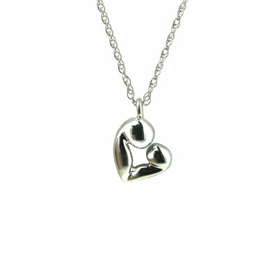 mother child, mom, mothers day, mother and child pendant, mother and child necklace, 14k gold, 14k white gold, solid gold, chain, pendant, charm, white gold, heart mother and child, heart pendant
