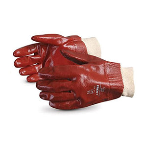 PVC Glove, Red, Jersey Lined, 14in Length, CFIA Approved - 12/Pack