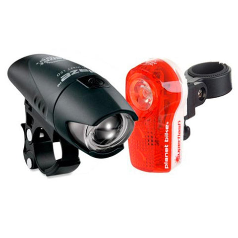 Planet Bike Blaze/Superflash Headlight & Taillight Set: Black