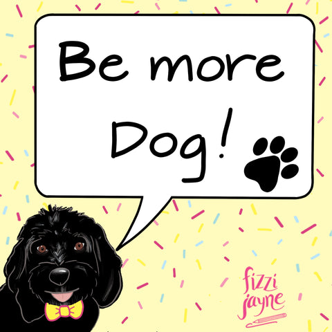 Be more dog illustration with black cockapoo