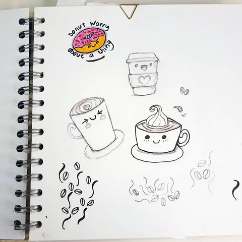 sketches of kawaii style coffee cups, mugs and a donut