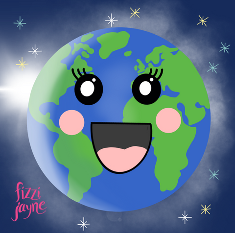 Illustration by fizzi_jayne of planet earth with a smiley, happy face
