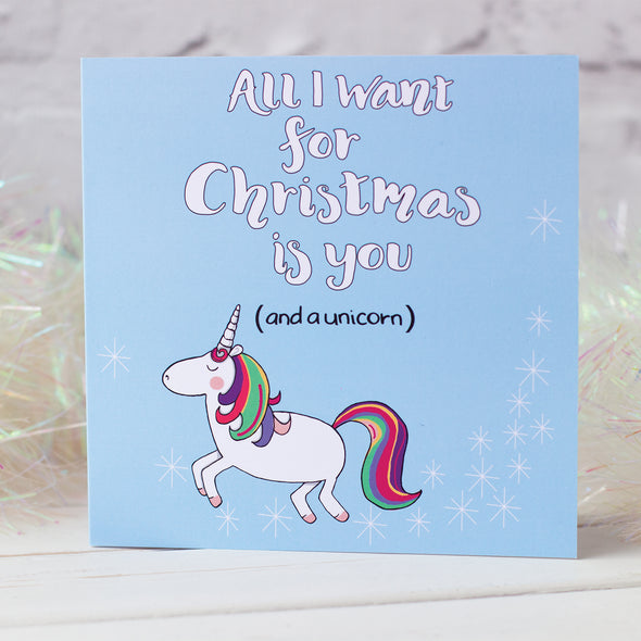 All I want For Christmas is You (and a unicorn). Christmas Card - fizzi~jayne