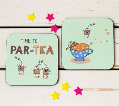 Time to PAR-TEA. Set of 2 Funny Coasters for Tea Lovers