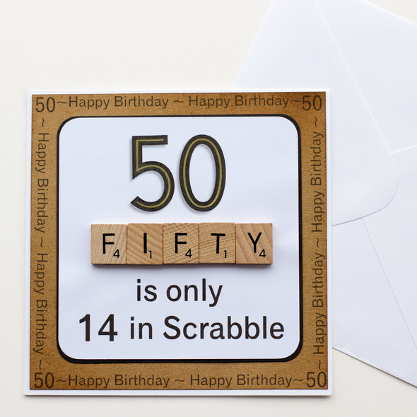 50 is only 14 in Scrabble. Handmade 50th Birthday Card - fizzi~jayne