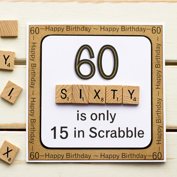 60 is only 15 in Scrabble. Handmade 60th Birthday Card - fizzi~jayne