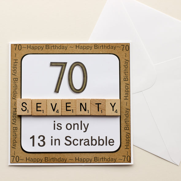 70 is only 13 in Scrabble. Handmade 70th Birthday Card - fizzi~jayne