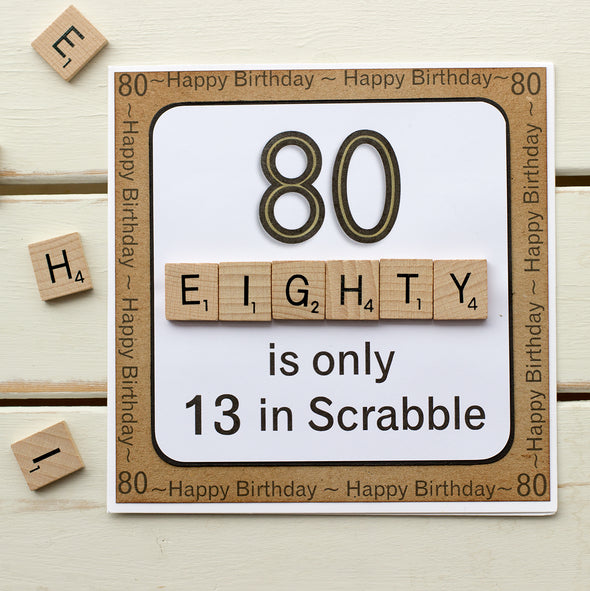 80 is only 13 in Scrabble. Handmade 80th Birthday Card - fizzi~jayne
