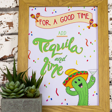 For A Good Time Add Tequila and Lime. Funny Wall Art. A4 Print - fizzi~jayne
